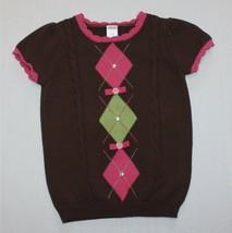 Gymboree Equestrian Club Gem Bow Argyle Short Sleeve Sweater size 5 6 - $14.99