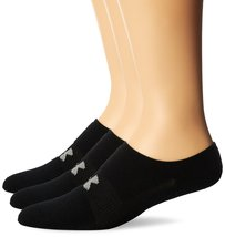Under Armour Men's HeatGear Solo No-Show Socks (3 Pairs), Black, Large - $262,22 MXN