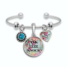 Ask Seek Knock Matthew 7:7 Silver Cuff Bracelet Christian Scripture Jewelry Gift - $13.80
