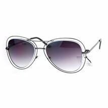 Double Wire Frame Aviator Sunglasses Women's Fashion Shades UV 400 - £9.36 GBP