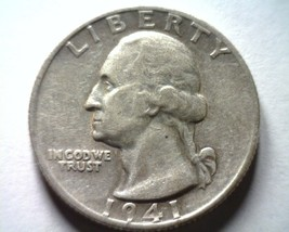1941-S WASHINGTON QUARTER EXTRA FINE / ABOUT UNCIRCULATED XF/AU NICE COI... - $11.00