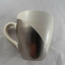 Starbucks 2004 Asymmetric Ceramic Mug Metallic Silver and Cream Hand Pai... - $10.88