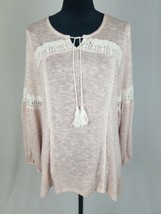 Style & Co women L knitted long sleeve shirt lace tussles pink - $43.33