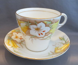 Bell Cup & Saucer Yellow & White Lilies English Bone China Vintage 1911 ... - $15.00