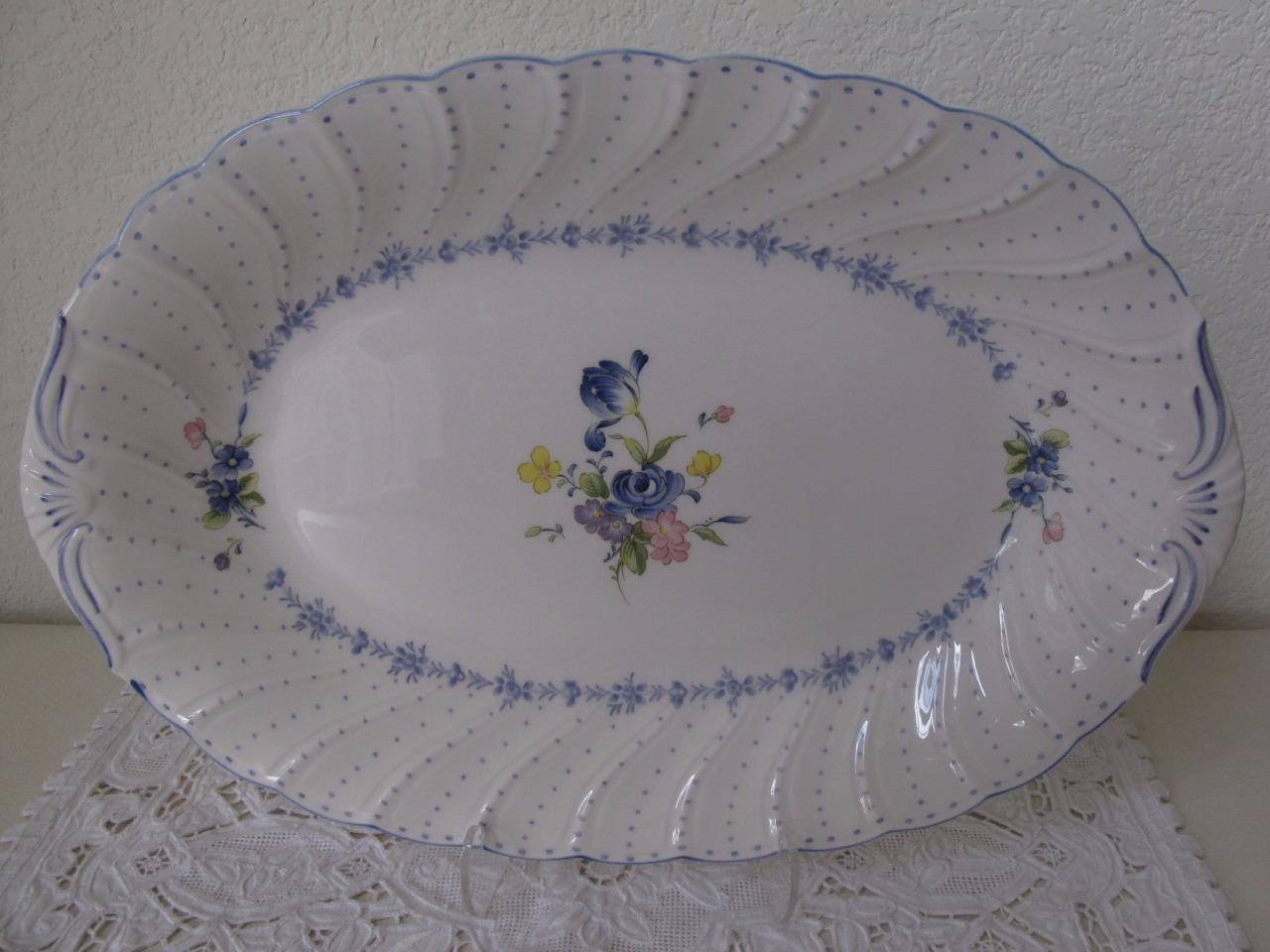 Nikko Blue Peony Oval Oblong Serving Tray Platter 14  Excellent Japan Blue Dot : nikko blue peony dinnerware - pezcame.com