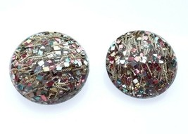 Vintage Lucite Confetti Multi color Strands Bubble Round Clip on Earrings - $29.99
