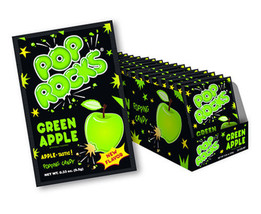 Pop Rocks Popping Candy Packs Green Apple: 24-Piece Box Free Shipping - $23.33