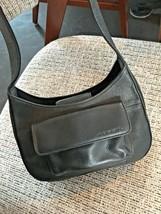 Fossil Black Leather Zippered Wallet Shoulder Petite Purse Handbag Vintage - $29.06