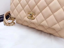 100% AUTHENTIC CHANEL 2017 CAVIAR QUILTED MINI COCO HANDLE FLAP BAG BEIGE GHW image 5