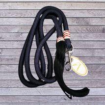 Navy Braided Trainer's Lead Rope Rawhide Accents & Horsehair Tassel image 1