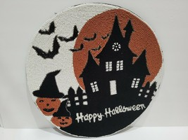 NICOLE MILLER HALLOWEEN HAUNTED HOUSE BEADED PLACEMAT CHARGER  PICK QTY - $32.99