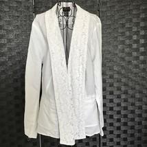 Torrid White Linen Lace Cotton Jacket Peplum Long Sleeve Size 2X - $32.77