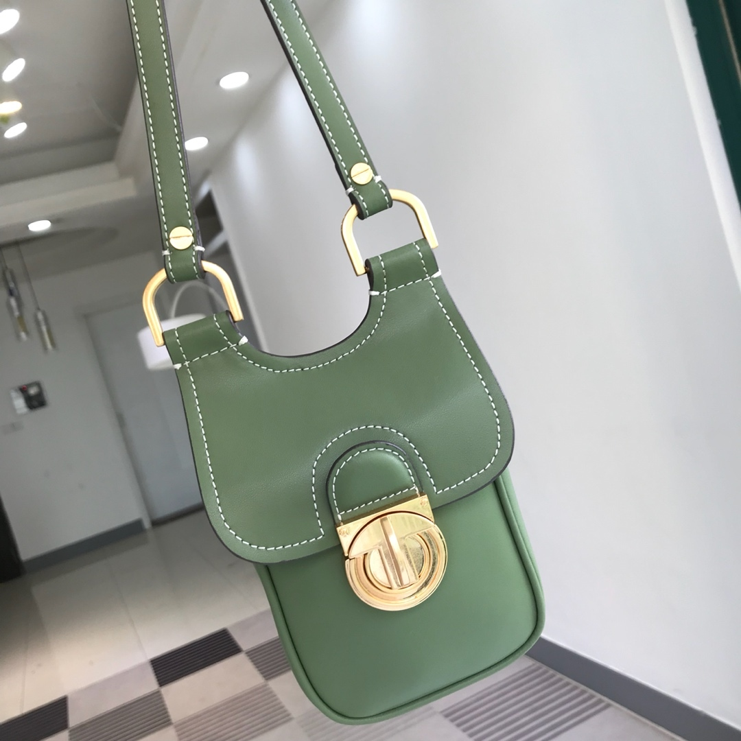 TORY BURCH James Phone Crossbody Bag Womens Leather Mini Shoulder Bag Green