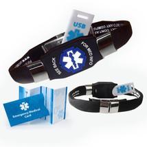 Waterproof Elite Usb Medical Alert Id Bracelet, 2 Gb Usb - (Black) - $42.95