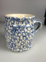 Henn pottery coffee mug agate stoneware pottery blue mottled splattered cup - $21.00