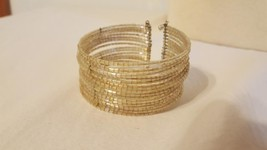 VINTAGE CLEAR CUFF BRACELET, 17 ROWS GLASS BEADS TIED TOGETHER WITH META... - $4.94