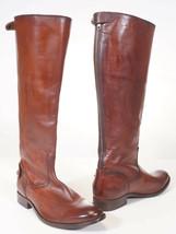 Frye Melissa Button Women Brown Cognac Leather Back Zip Tall Riding Boots - $143.99