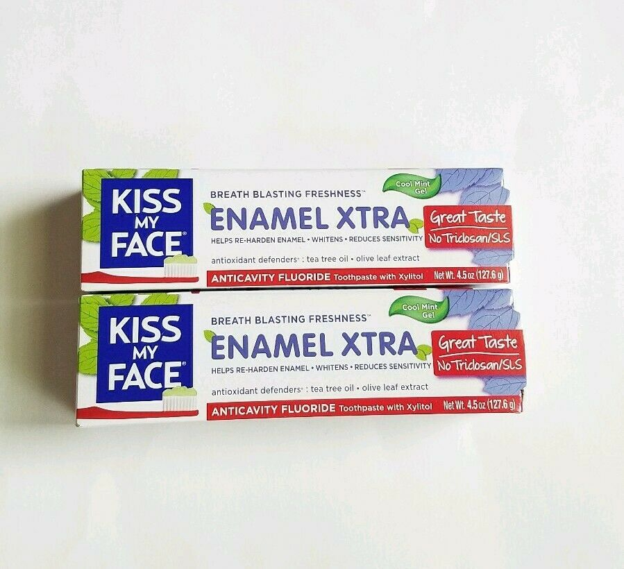 Primary image for Lot of 2 Kiss My Face Toothpaste Enamel Xtra Cool Mint Gel 4.5oz Vegan Fluoride