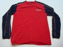 Budweiser Long Sleeve Shirt Urban Classics Size L Red & Blue with White ... - $13.82