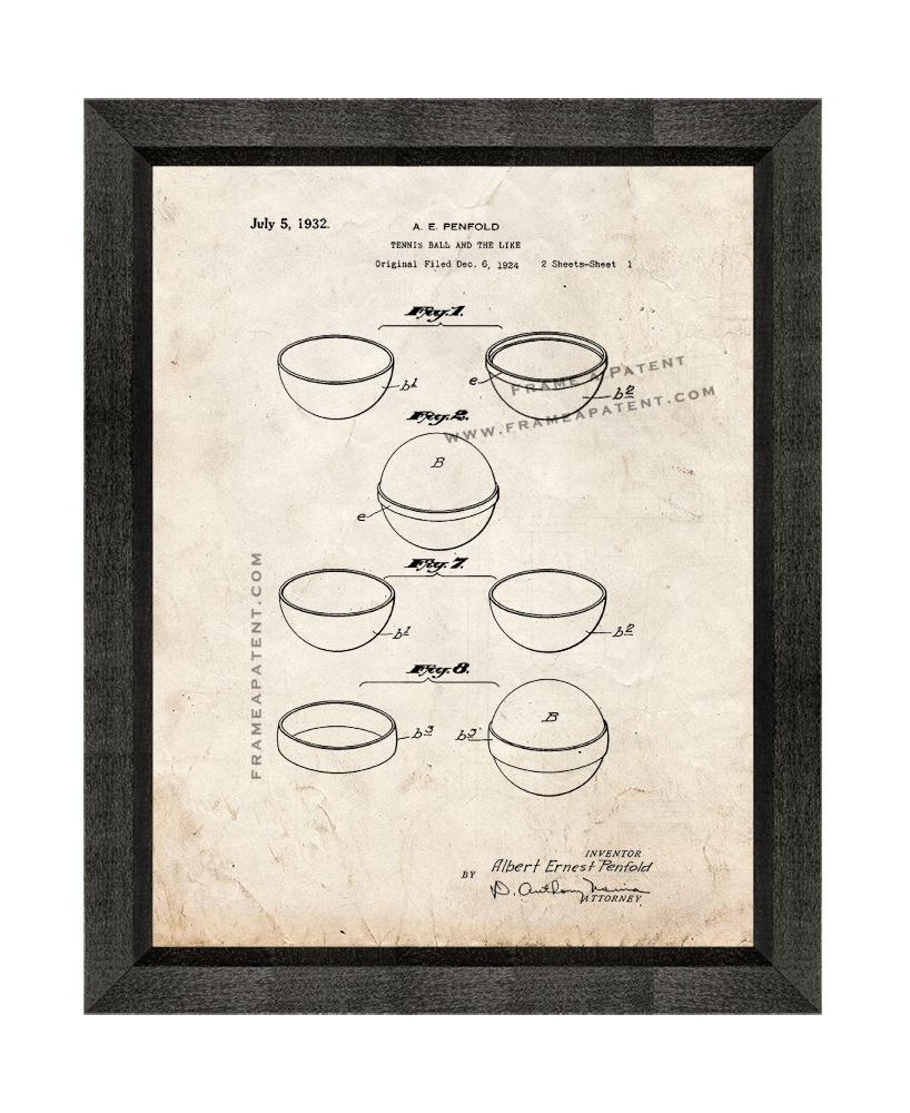 Primary image for Tennis Ball Patent Print Old Look with Beveled Wood Frame