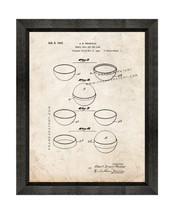 Tennis Ball Patent Print Old Look with Beveled Wood Frame - $24.95+