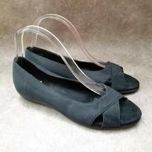 Aerosoles Womens Silver Platter  Sz 8.5 M Black Open Toe Low Wedge Sandals - $29.99