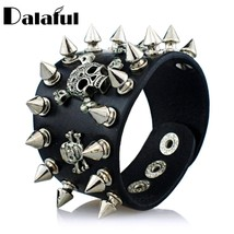 Unique Rock Spikes Rivet Gothic Skeleton Skull Punk Biker Wide Cuff Leat... - $10.11