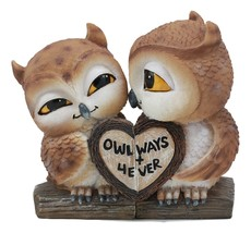 Valentines Kissing Love Owl Couple Decor Statue 2 Piece Set Owls With He... - $20.99