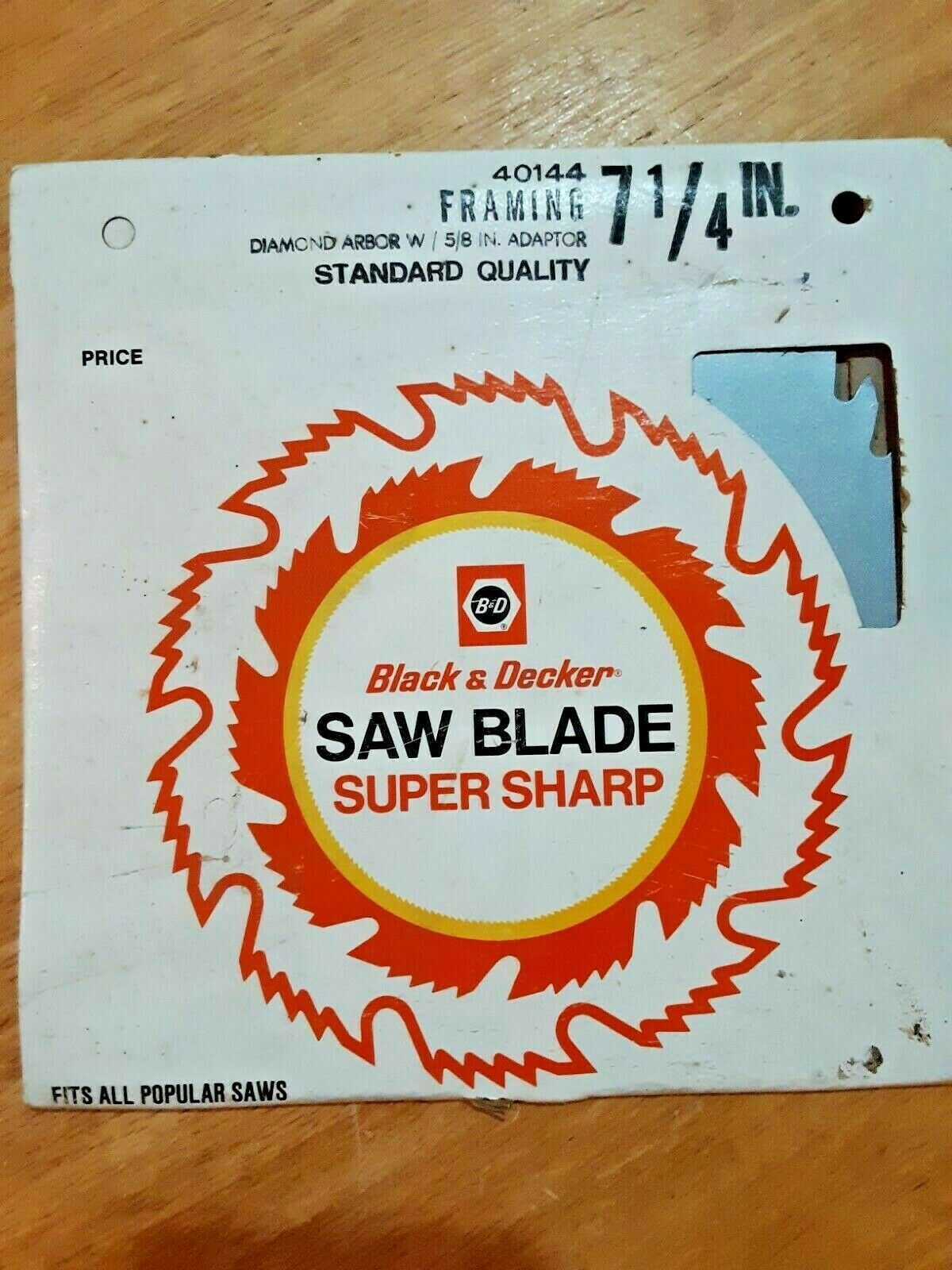 "Primary image for Black & Decker Circular Saw Blade Framing 7 1/4"", Diamond Arbor Hole only 40144"