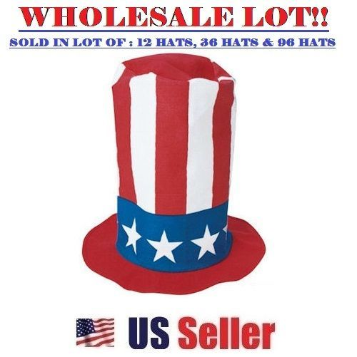 Patriotic Felt Pipe Hat Tall American Flag Lincoln 4th of July Cap Wholesale Lot