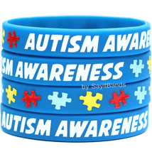 20 AUTISM AWARENESS Bracelets - Silicone Fundraiser Wristbands w/ Puzzle PIeces - $18.88