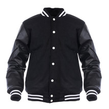 Varsity Genuine Leather Sleeve Letterman College  Men Wool Jacket - $89.10