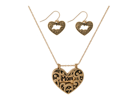Mom Dainty Heart Locket Pendant Stamped Necklace Set - $13.95