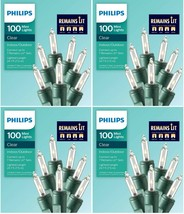 Lot 4 Philips 100ct Remains Lit Christmas Incandescent Mini String Lights Clear