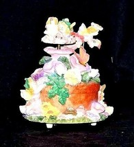 Ceramic Fairy Music Box 5 Fairies on a Floral Merry-Go-Round AA18-1139 Vintage image 2
