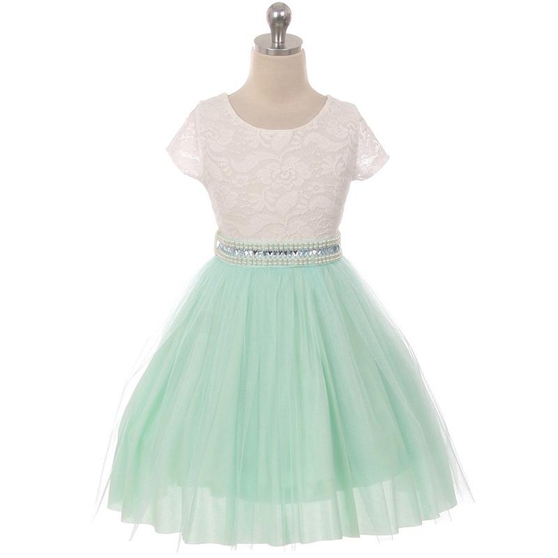 Blush Cap Sleeve Lace Top Tulle Skirt Flower Girls Dresses