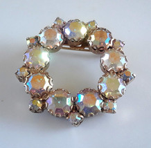 Vintage Aurora Borealis AB Rhinestone Round Wreath Brooch - $14.25