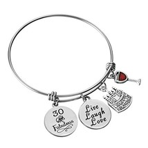 Miss Pink Expandable Wire Bangle Charm Bracelet 30th Birthday Gifts Thirty Jewel - $18.08