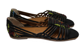 BORN IN CALIFORNIA Womens Woven Guess Again Flat Black Sandals Size 8 VE... - $56.09