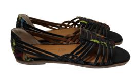 Born In California Womens Woven Guess Again Flat Black Sandals Size 8 Vegan New - $56.09