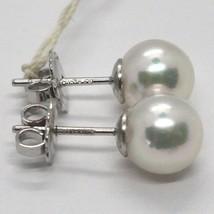 Ohrringe aus Gold Weiß 750 18K, Perlen Weiß, Akoya , Diam 7.5/8 mm, Japan image 2