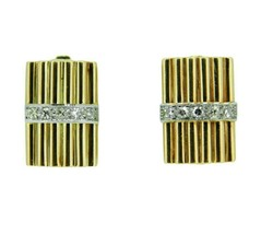 14k Yellow Gold Genuine Natural Diamond Bar Earrings (#J4759) - $950.00