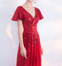 Women Sequin Maxi Dresses Cap Sleeve High Waist Maxi Sequin Dress Gold Red Black image 3
