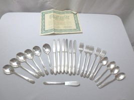 "Vtg Wm Rogers silver plate flatware 1940's ""Beloved"" 22 pieces Beautiful - $75.00"