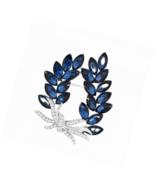 Merdia Brooches Pin Flower Brooche Created Crystal Brooch-Blue - $19.88