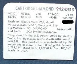 942-DS13 for Astatic 91TX Electro-Voice EV 76D CARTRIDGE NEEDLE STYLUS image 2