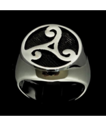 Antiqued Sterling silver ancient symbol ring Triple Spiral Celtic Water ... - $80.00