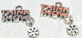 THINK SNOW WITH SNOWFLAKE DANGLE FINE PEWTER PENDANT CHARM - 20x22x1mm