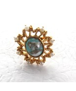 Vtg Sarah Coventry Gold Faux Pearl Starburst Turquoise Cocktail Ring Sz 6 - $14.81