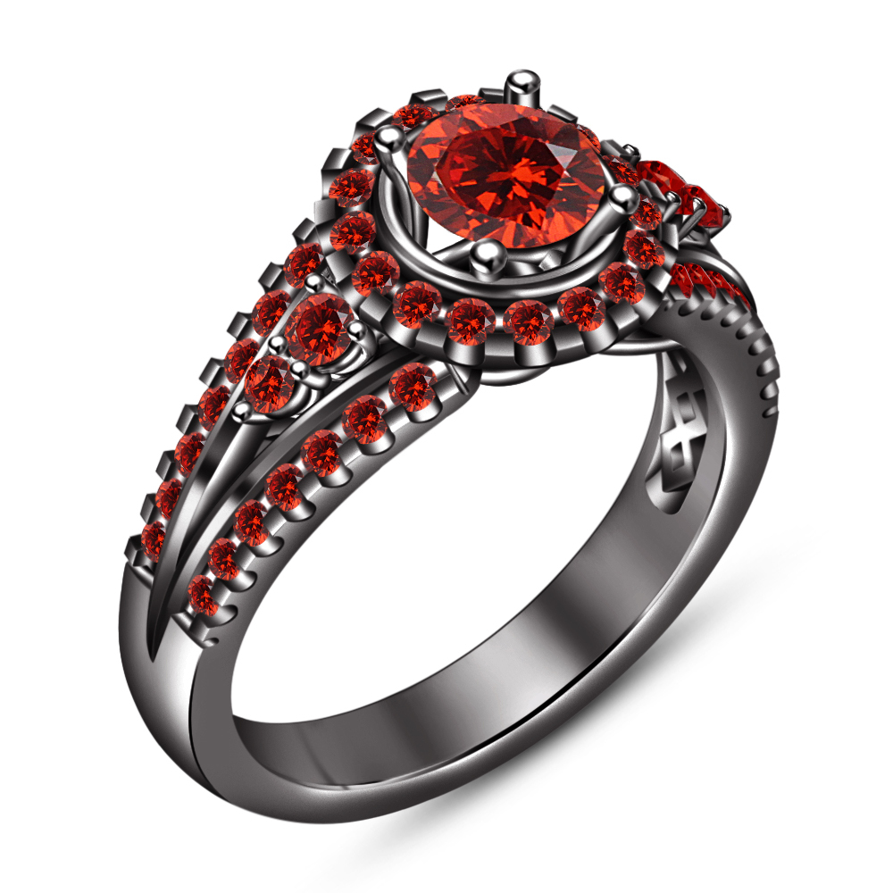 Round Cut Red Garnet Bridal Engagement Ring Set 14k Black Gold Plated 925 Silver
